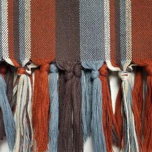 "Vintage hand woven wool blanket scarf 28""×84"""